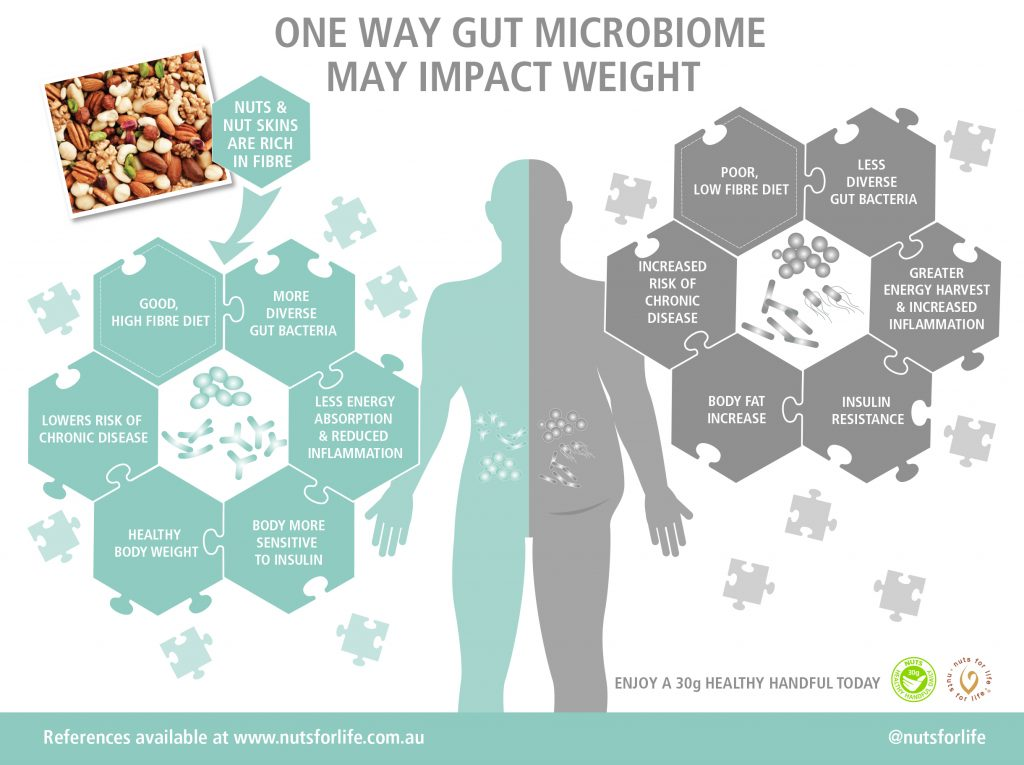 Nuts for Life - Nuts and health infographic - One way gut microbiome may impact weight