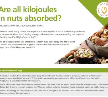 Nuts for Life - Fact sheet - Kilojoules in nuts