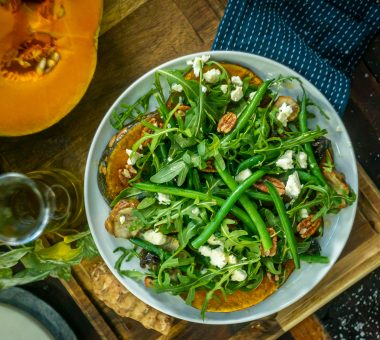Nuts for Life - Plant-forward pairings - weet pumpkin salad with green beans and pecans